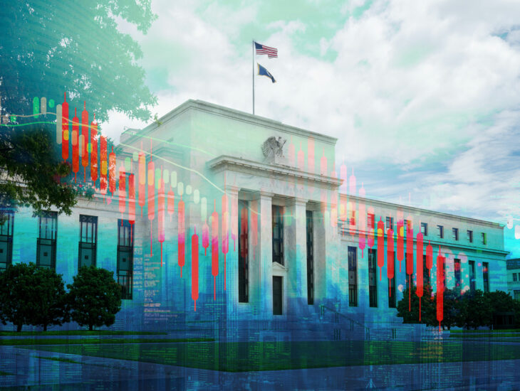 Image of Federal Reserve and graph overlay