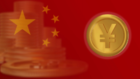 image of Chinese flag and Yuan