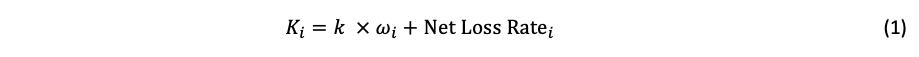 "formula showing K_i=k ×ω_i+〖""Net Loss Rate"" 〗_i"